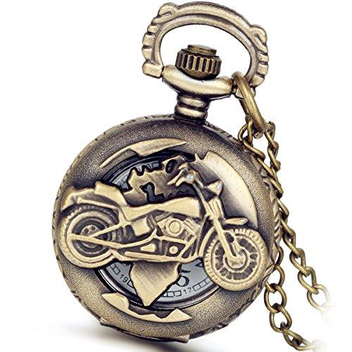 Weihnachten Lancardo Herren Vintage Motorrad Taschenuhr, Bronze Analog Quarz Hohe Openwork Uhr mit Halskette Kette Umhängeuhr Pocket Watch Geschenk (Motorrad-halloween-kostüm)