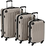 HAUPTSTADTKOFFER – Alex – Set of 3 Hard-side Luggages Glossy Suitcase Hardside Spinner Trolley Expandable (S, M & L) Champagner