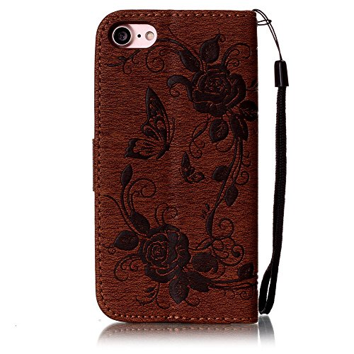C-Super Mall-UK Apple iPhone 7 Plus hülle: Qualität Exquisite Funkeln Bling Strass Geprägtes Blumen & Schmetterling-Muster PU-Leder-Mappen-Standplatz -Schlag-hülle für Apple iPhone 7 Plus(azurblau) brown(bling)