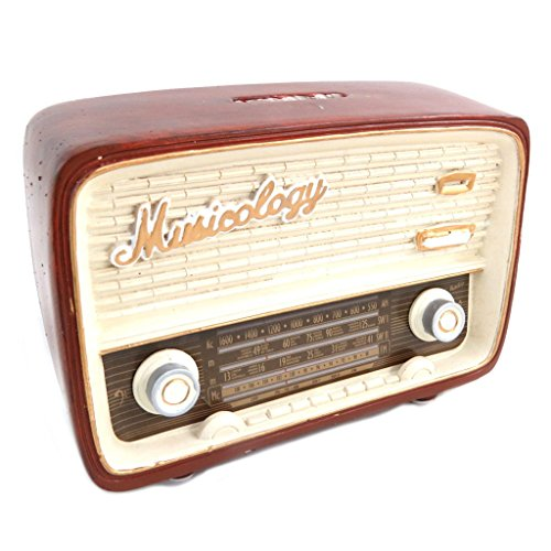 Les Trésors de Lily [P6527 - Resina de Hucha 'Musicology' marrón Beige Vintage (Radio)- 14.5x10x5.5 cm.