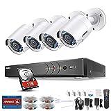 ANNKE Überwachungskamera Set 8CH 1080P Videoüberwachung TVI DVR Recorder mit 4X 1080P Sicherheitskamera Überwachungssystem für innen und außen Bereich mit 1TB Festplatte Nachtsicht bis zu 30 Meter