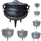 Grillmaster Gusseisen African Pot Potjie Dutch Oven Feuertopf Grill Lagerfeuer Topf Größenauswahl, Größe:12 L