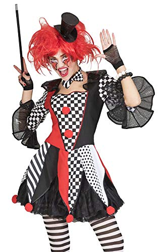 Kostüm Kleid Harlekin Scary Dame Größe 40/42 Clown Halloween Karneval Fasching Damenkostüm ()