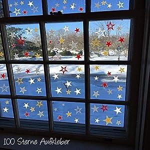 100 Sterne Aufkleber HM- AA194 Fenster selbstklebend Weihnachten Dekoration Fensterbilder Silber Rot oder Gold und viele…