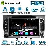 Ohok Android 9.0 Autoradio 2 Din pour Peugeot 308 2008 2009 2010 Stéréo Unité de tête 4G+32G 8 Core Sat Nav avec Lecteur DVD Supporte GPS Bluetooth CarPlay Android Auto WLAN OBD2 7' écran tactile,Gris