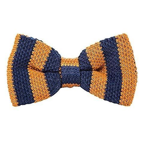 Robelli Homme tricoté Réglable Nœuds Papillon Pré-noués - vendeur anglais - Marine w/ Citrouille Rayure, One