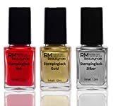Stampinglack Set 3x12ml Gold Rot Silber Stamping Lack Nagellack Nail Polish RM Beautynails