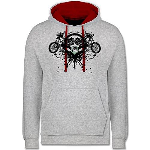 Motorräder - Biker - true life - Kontrast Hoodie Grau Meliert/Rot