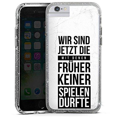 Apple iPhone 6 Bumper Hülle Bumper Case Glitzer Hülle Humor Fun Sayings Bumper Case Glitzer silber