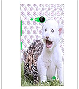 PrintDhaba Cute Kittens D-3881 Back Case Cover for NOKIA LUMIA 730 (Multi-Coloured)