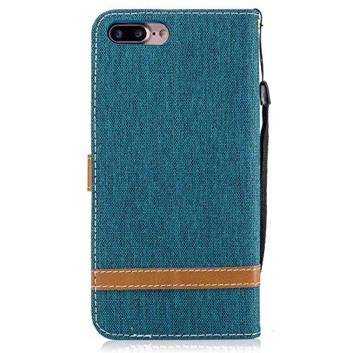 iPhone 7 Plus 5,5Zoll Schutzhülle,iPhone 7 Plus Leder Hülle,TOYYM Ultra Dünn Full Body Protection Flip Leder Wallet Brieftasche Case 3 in 1 Handytasche mit Stand Funktion Kartenfächer Magnetverschluss Blau#1