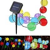 Lampion Solar String-Leuchten, YUNLIGHTS 21.3ft 30 LED Wasserdicht Solarenergie Draußen Leuchten mit 8 Modellen, Weihnachten oder Party Dekorationen für Garten, Hause, Rasen (Vielfärbig)