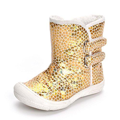 URSING Kleinkind Neugeboren Gold Leopard Stiefel Prewalker Warm Martin Schuhe Baby Boy Mädchen Schnee Stiefel Bling Pailletten krabbelschuhe mit klettverschluss Klassischer Schlupfstiefel (21, (Stiefel Gold Pailletten)