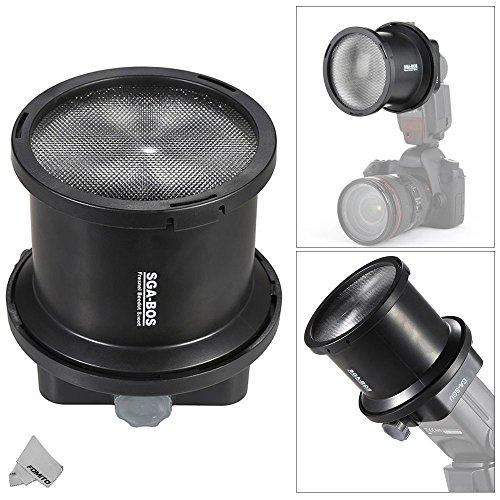 Fomito SGA-BOS 2 mal EV Fresnel Snoot Blitzlicht Extender mit CA-SGU Adapter für Speedllight Canon Nikon Sony Yongnuo Neweer Godox Vivitar Blitz & 10pcs Farbfilter -