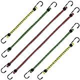 CampTeck U6959 - Corde Elastiche Resistenti Bungee Cord Cinghie Elastiche con Ganci - Trolly, Auto, Moto, Bicicletta, Rimorchio e Altro - Multicolore - 6 Pezzi