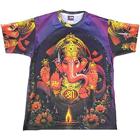 Lila Lord Ganesha Ganesh Dio indù Vintage Art Tattoo Ticila Herren T-Shirt