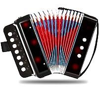 Accordion Accordion-7 Key 2 Bass Accordion - Instrumento musical para niños (instrumento único y de ensamblaje, instrumento musical para la enseñanza de la primera infancia (diseño seguro, sin batería, potencia)