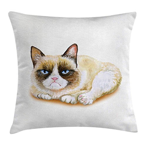 Animal Throw Pillow Cushion Cover, Grumpy Siamese Cat Angry Paws Asian Kitten Moody Feline Fluffy Love Art Print, Decorative Square Accent Pillow Case, 18 X 18 Inches, Brown and Beige (Halloween Blues Moody)