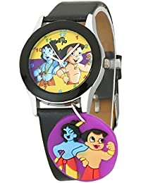 DK LMP3 Newest Little Krishna Chhota Bheem Cartoon Character Dangle Multi Color Dial Black Leather Strap Analogue...