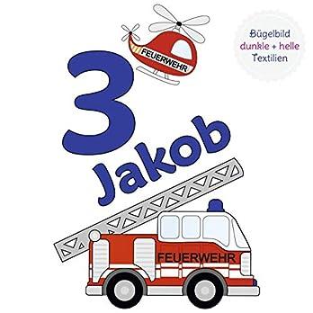 MissRompy Geburtstag Bügelbild Feuerwehr (878) für dunkle und helle Stoffe Zahl groß Aufbügler Alter Bügelbilder Applikation Aufbügelbild