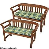Set di 2 terrazze bancari poliestere sedia patto cuscino cuscino verde a scacchi