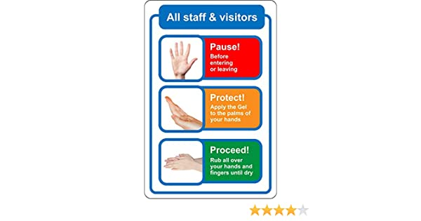 150mm x 200mm Self adhesive Sticker. STOP THE SPREAD OF GERMS AND VIRUSES Please use hand sanitiser before entering safety sign