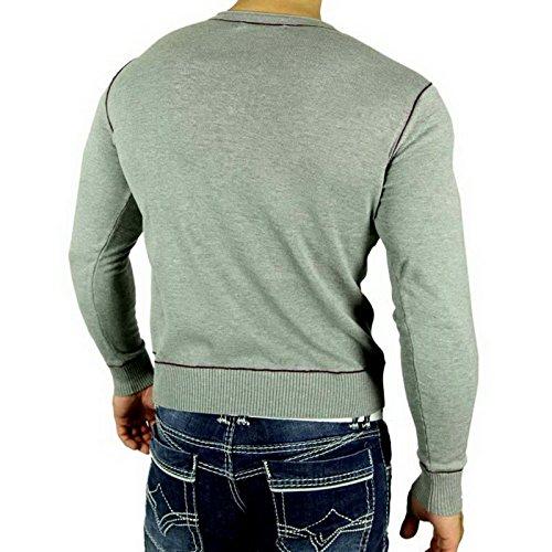 R-Neal RN-5014 Herren Pullover V-Neck Kontrast Pulli Sweatshirt Jacke Hoodie Neu Grau