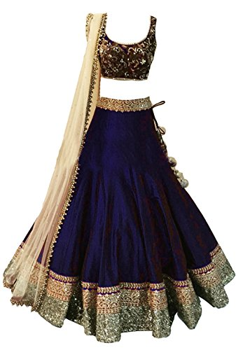 Clickedia Girls Heavy Bhagalpuri Silk Embroidered Navy Blue Lehenga with matching blouse pc - traditional wear ( 8-11 yrs)- Semi-Stitched alterable