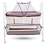 #6: Baybee Comfort Cradle Cot - New Born Baby Swing Cradle with Mosquito Net & Wheel (Brown)