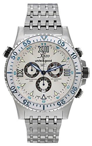 Xezo Air Commando Sport Luxury Chronograph Schweizer Taucheruhr für Männer, mit zweiter Zeitzone. Tag, Datum