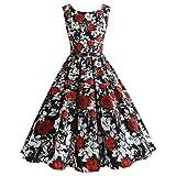 VEMOW Elegante Damen Damen Vintage Blumendruck Bodycon Sleeveless Beiläufige Tägliche Abendgesellschaft Prom Swing A-Linie Dress Cocktailkleider Faltenrock (Rot 1, EU-42/CN-XL)