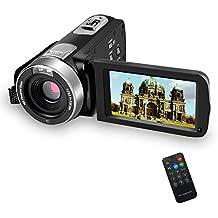 SEREE Camcorder Videokamera Digital Video Recorder Camera Full HD 1080p 16 Fach Zoom 3 Zoll 270 Grad drehbaren Bildschirm Mit Fernbedinung Pause Funktion