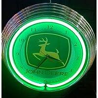 Orologio al neon JOHN DEERE SIGN, Orologio parete, UFFICIO, AUTOFFICINA USA 50 Stile - Colore neon VERDE