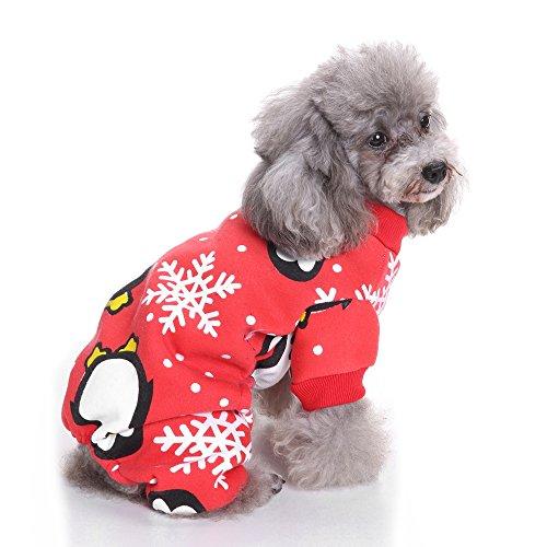 BOENTA Hund Outfits Weihnachten Kostüm Weihnachten Dekoration Warme Phantasie Overall Tuch für Kleine Haustiere (Pinguin)