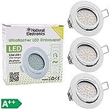 3x National Electronics® Slim Line Foco empotrable blanco sólo...