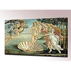 Nacimiento de Venus impresión DE lienzo por Sandro Botticelli cuadro enmarcado de la pared listo para colgar de la imagen estirada, 80 x 50.5 cm