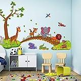 Dormitorio kawaii grandes animales de la selva Puente de PVC Wall Stickers niños papel pintado Adhesivos de niños del dormitorio Decoración infantil