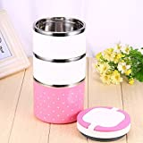 D PEX Stainless Steel and Heavy Fiber 3-Container Lunch Box with Multi-Layer Insulation