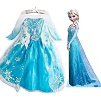 Vestito Frozen Bambina Dress Carnevale Costume Bimba childen Blu100 - 140 cm