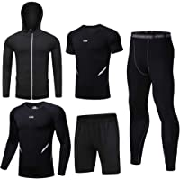 JEELINBORE Abbigliamento Running da Uomo, 5 Pezzi Set Completi Sportivi Leggings Compressione Fitness Pantaloncini Corsa…