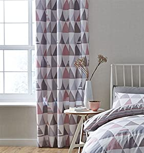 "Geometric Triangles Pink Grey White Lined 66"" X 72"" - 168cm X 183cm Ring Top Curtains from Curtains"