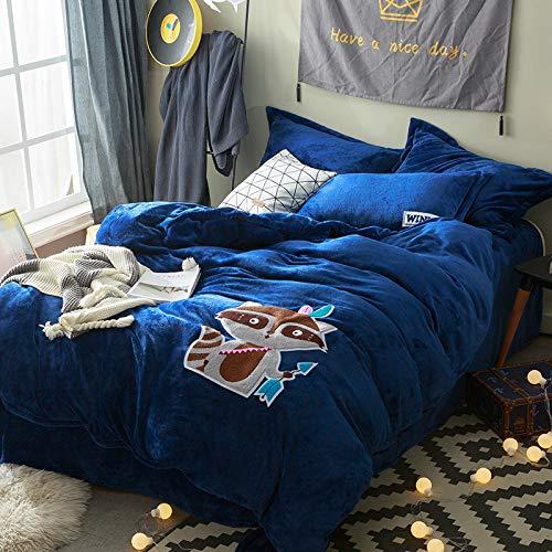 JZX Vier Sätze Bettwäsche, Bett-Stil Weiche Haut Flanell Vierteilig, Cartoon-Druck Handtuch Bestickt Vierteilig,Dunkelblau,2.2 * 2.4m (Bestickte Bett-satz)