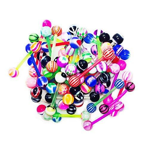 BodyJ4You Women's Los 50 PC 14g multi Farbensortiment flexible Zunge Ringe barbells Mix Piercing -
