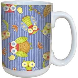 Árbol de-free incluye un bonito diseño de búhos de felicitación 79286 15 oz taza de cerámica con mango completo