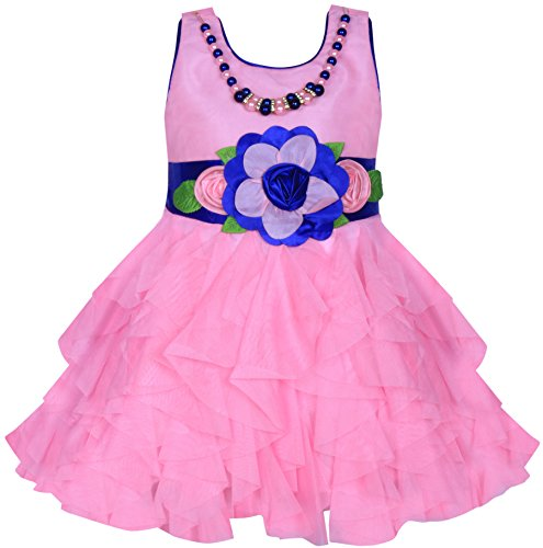 Cute Fashion Kids Girls Baby Dress for Princess Satin and Sifone Net Party Wear Frock Dresses Clothes for (Pari Pink, 12-18 Months)