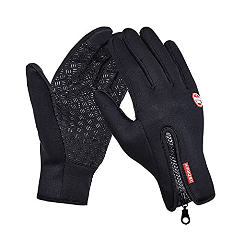 CBValley Windproof Touchscreen Sport Gloves Unisex Winter Outdoor Full Finger Gloves for Running Cycling Skiing Hiking Hunting Climbing Camping, Outdoor Sports in Winter-Black (Black,