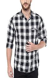 Spykar Mens Printed Slim Fit Cotton Casual Shirt (MSH116 FC02AF_Black_X-Large)