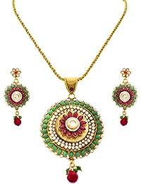 [Sponsored]JFL - Traditional One Gram Gold Plated Red & Green Stone Pearl Designer Pendant Set For Women.