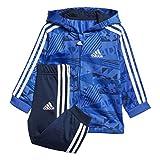 adidas Kinder Shiny Jogginganzug mit Kapuze Trainingsanzug, Hirblu/Conavy/Croyal, 86