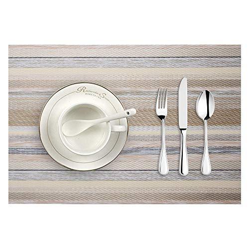 Ansenesna Platzdeckchen Abwaschbar PVC Gewebt Einfarbig Tischsets Rechteckig Vintage Gestreift Platzsets 45cmX30cm (Bunt 2)